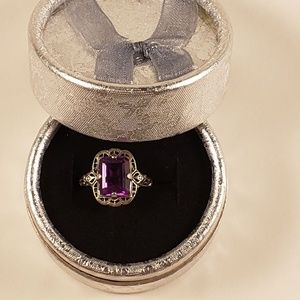 Antique Style Sterling Silver & Amethyst Ring